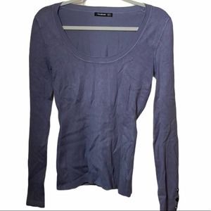 PattyBoutik scoop neck sweater blue S